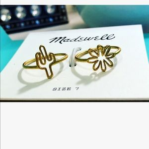 Madewell Cactus & Flower Outline Ring Set Size 7